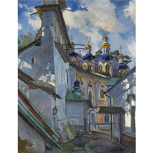 Sergei Arsenevich Vinogradov, 1869-1938 , view of the pechera monastery oil on canvas
