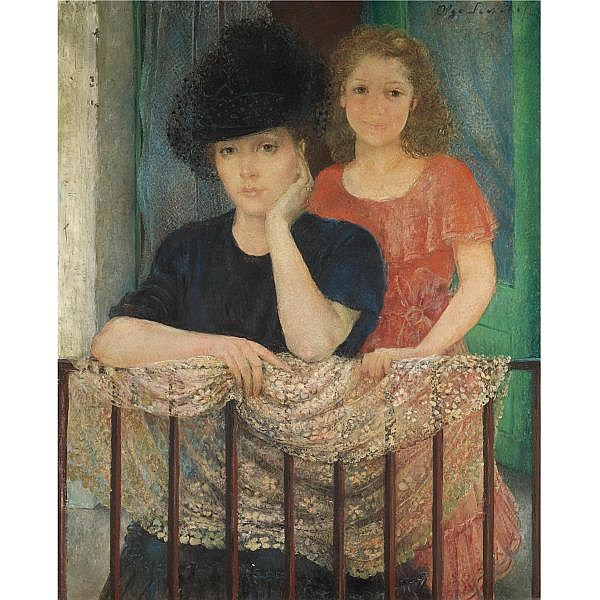 Olga Sacharoff, 1889-1967 , portarit of a lady and her daughter oil on canvas
