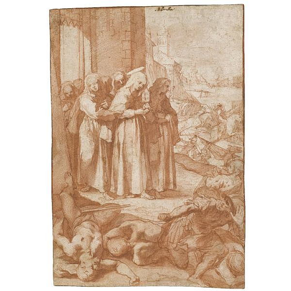 Ventura Salimbeni , Siena 1568 - before 1613 st clare repulsing the saracens from assisi Red chalk and wash; bears attribution in pen and brown ink: Salimben