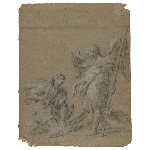 Martin Johann Schmidt, called Kremser-Schmidt , Grafenwörth near Krems 1718 - 1801 Stein near Krems Tobias and the Angel Black chalk heightened with white chalk, on buff paper