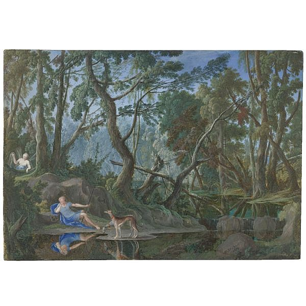 Pierre-Antoine Patel the Younger , Paris 1648 - 1707 A wooded landscape with Narcissus and Echo Gouache; signed and dated on the rock lower left: . AP.PATEL/ .1679. [AP in ligature]