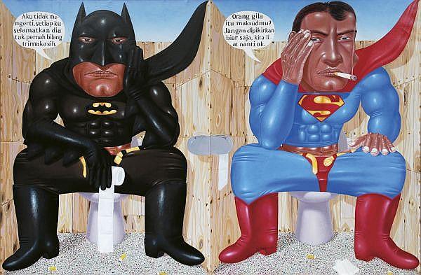 I Nyoman Masriadi b. 1973 , Sorry Hero, Saya Lupa (Sorry Hero, I Forgot) acrylic on canvas