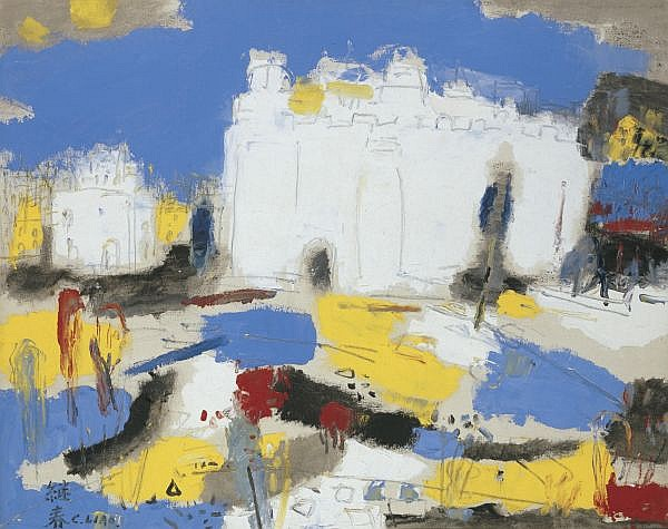 - Liao Jichun (Liao Chi-Chun) 1902-1976 , Ancient Castle in Spain oil on canvas