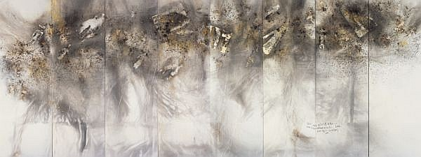 Cai Guo-Qiang b. 1957 , Man, Eagle and Eye in the Sky: People (Eight panel screen) gunpowder and ink on paper
