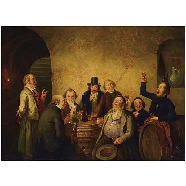 Johann Peter Hasenclever German, 1810-1853 , winetasting oil on canvas