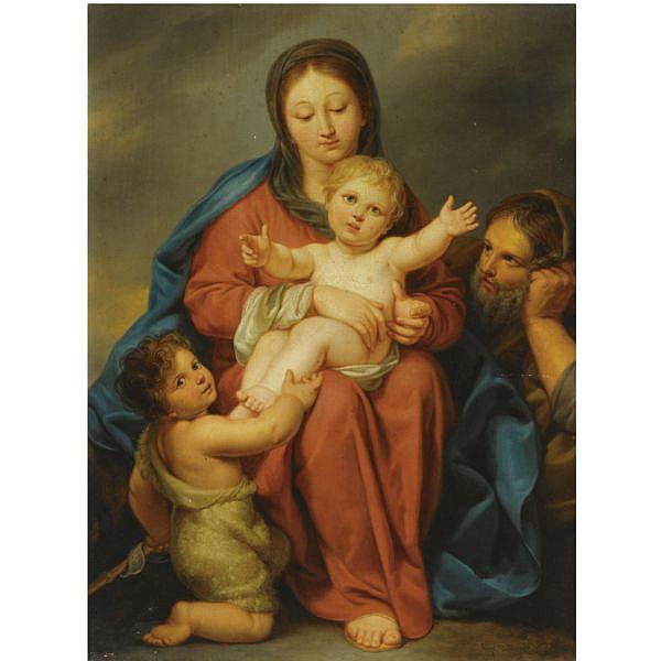 Pierre-Joseph-Celestin François Namur 1759 - 1851 Brussels , The Holy Family with the infant Saint John the Baptist oil on panel