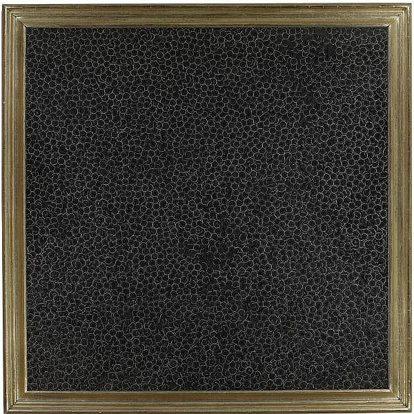 Piotr Uklanski , b. 1969 Untitled (Immacolata)   dyed natural wood pencil shavings and Plexiglas with adhesive film in artist's frame