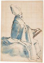 JACOPO CHIMENTI, CALLED JACOPO DA EMPOLI | Studyfor aseatedbishop holding a book