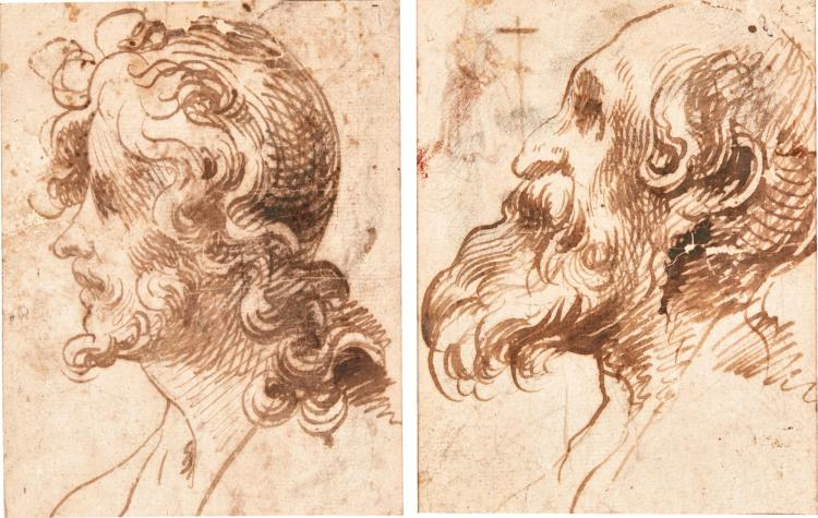 FRANCISCO HERRERA THE ELDER | Head of a young manin profileand head of an old man in profile, with a separate study of a full length figure holding a cross, upper left