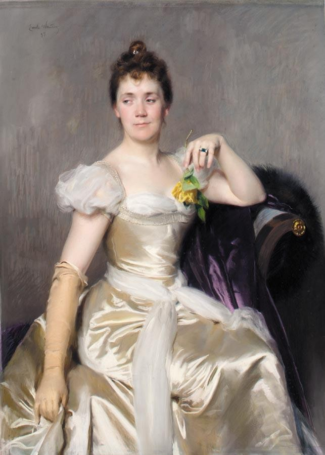 EMILE CHARLES WAUTERS 1846 - 1933 PORTRAIT OF FLORENCE SHARON, LADY FERMOR-HESKETH