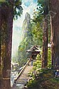 JOHN LA FARGE 1835-1910 ROCKS AT TEMPLE OF HARUNA, KARAMON GATE AND HOKO GATAKE ROCK, John LaFarge, Click for value