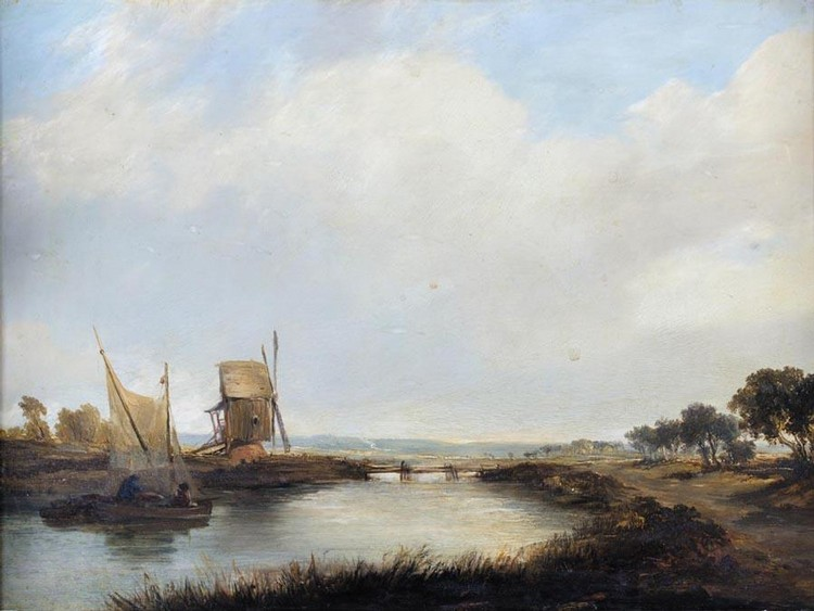 ALFRED VICKERS 1786-1868 RIVER LANDSCAPE WITH SAILING BOAT AND WINDMILL