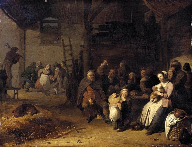 PIETER DE BLOOT ROTTERDAM CIRCA 1601/2 - 1658 A BARN INTERIOR WITH PEASANTS EATING AND DANCING TO