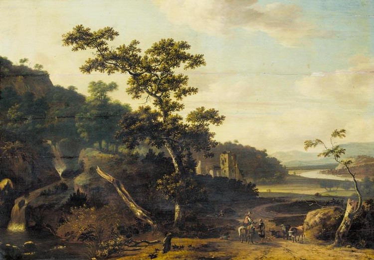 JAN GABRIELSZ. SONJÉ DELFT 1625 - 1707 ROTTERDAM AN ITALIANATE RIVER LANDSCAPE WITH FIGURES AND