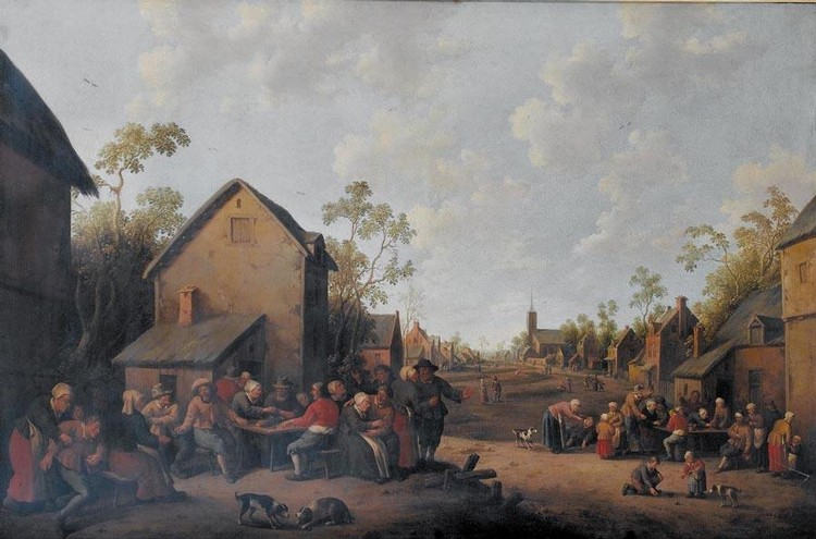 JOOST CORNELISZ. DROOCHSLOOT UTRECHT 1586 - 1666 A VILLAGE SCENE WITH PEASANTS MAKING MERRY BEFORE