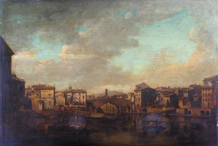 WILLIAM MARLOW 1740-1813 THE TIBER AND THE PONTE CESTIO, ROME