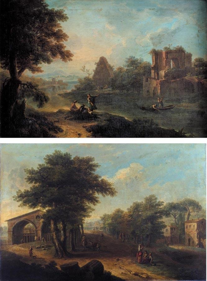 PAOLO ANESI ROME 1697 - 1773 A CAPRICCIO OF ROMAN RUINS BY A WOODED RIVER LANDSCAPE WITH FIGURES