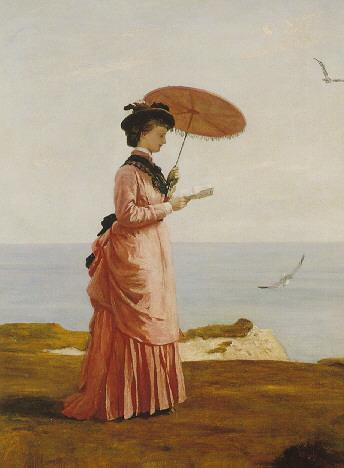VALENTINE CAMERON PRINSEP, R.A. (1838-1904) LADY TENNYSON ON AFTON DOWNS, FRESHWATER BAY, ISLE OF WIGHT