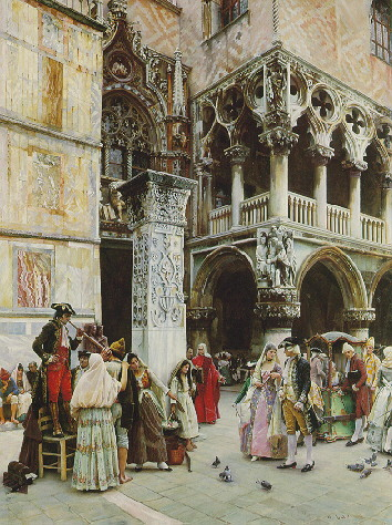 WILLIAM LOGSDAIL (1859-1944) ON THE LOGGIA OF THE DOGE'S PALACE; SEVENTEENTH CENTURY, VENICE