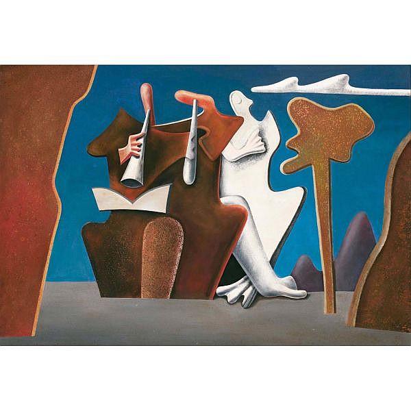 Max von Moos 1903-1979 Tempera und Öl auf Karton