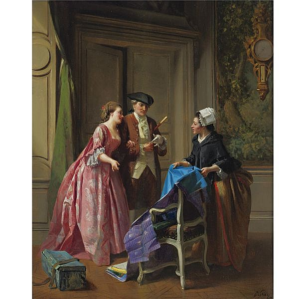 Prudent-Louis Leray 1820-1879 , Choosing fabric for a new dress oil on panel