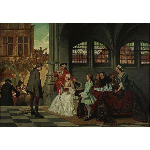 Auguste Serrure 1825 or 1826-1903 , The prize winner oil on panel