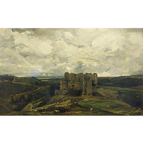 Paul Huet Paris 1803 - 1869 , Paysage au chateau d'Arquest la Bataille oil on canvas