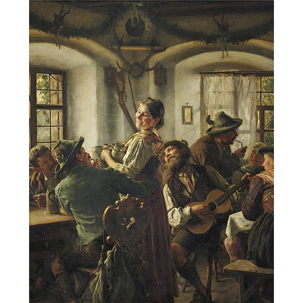 Emil Rau b. 1858 , Inside a Bavarian Tavern oil on canvas