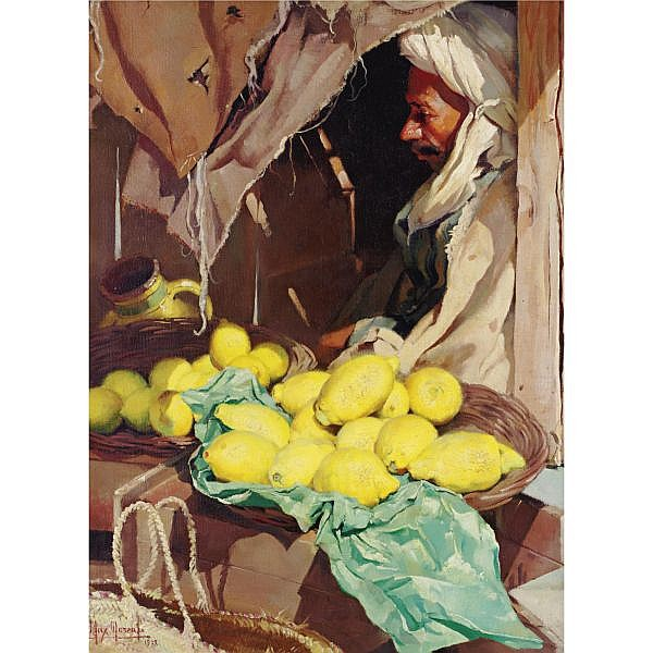 Max Moreau 1902-1992 , Lemons for sale oil on canvas