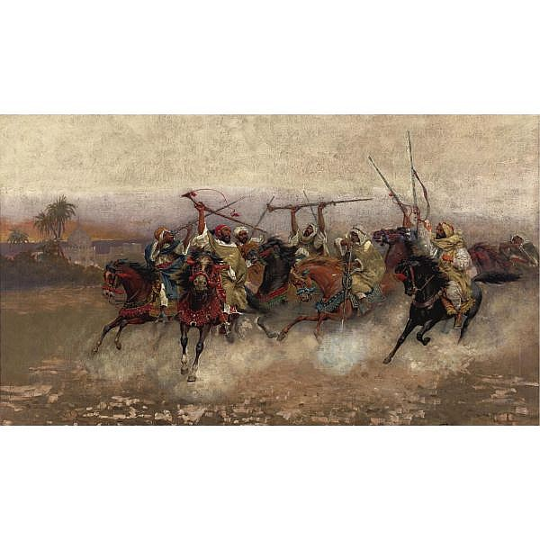 Henry Enrico Coleman 1846-1911 , Arab horsemen in gallop oil on canvas