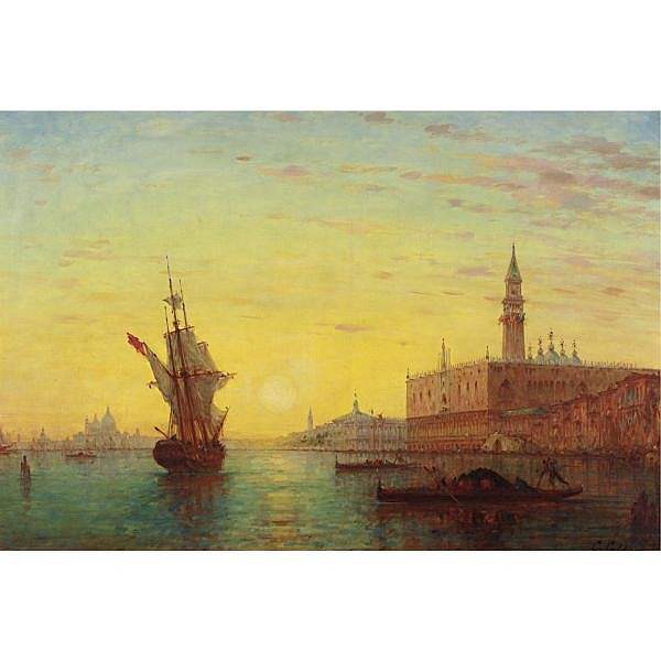 Charles Clement Calderon 1870 - 1906 , View of the Doge's Palace, Venice oil on canvas