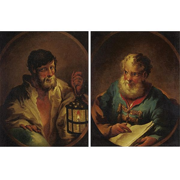 u - Balthasar Riepp 1703-1764 , Portrait of Diogenes and Portrait of Socrates: a pair oil on canvas (2 works)