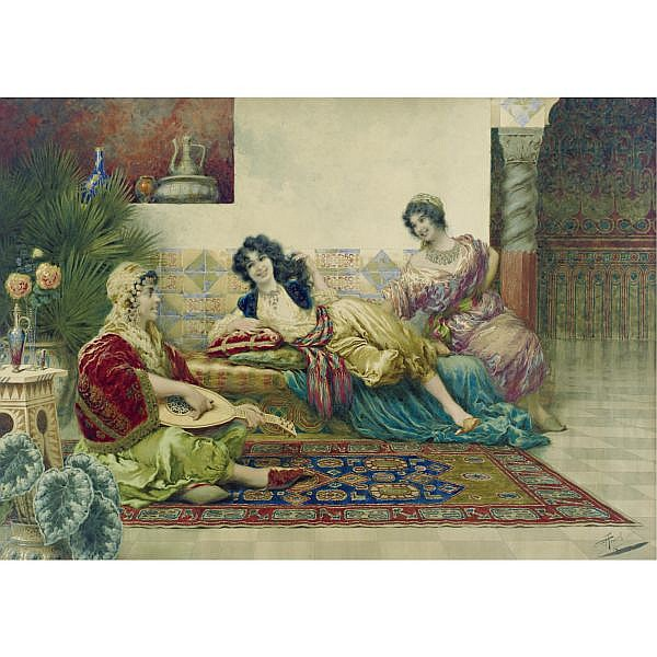 Giuseppe Aureli 1858-1929 , Idle hours in the harem watercolor on paper