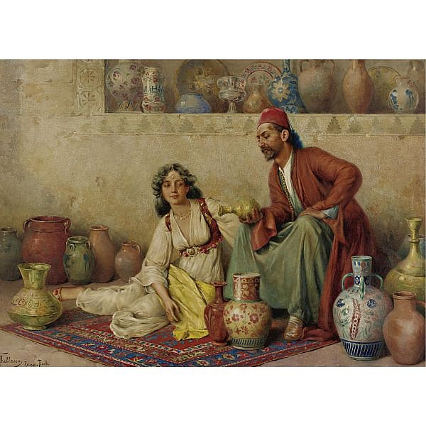 Francesco Ballesio 1860-1923 , Pottery for sale watercolor on paper