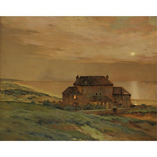 Jean Charles Cazin 1841-1901 , Moonlight by the Sea oil on canvas
