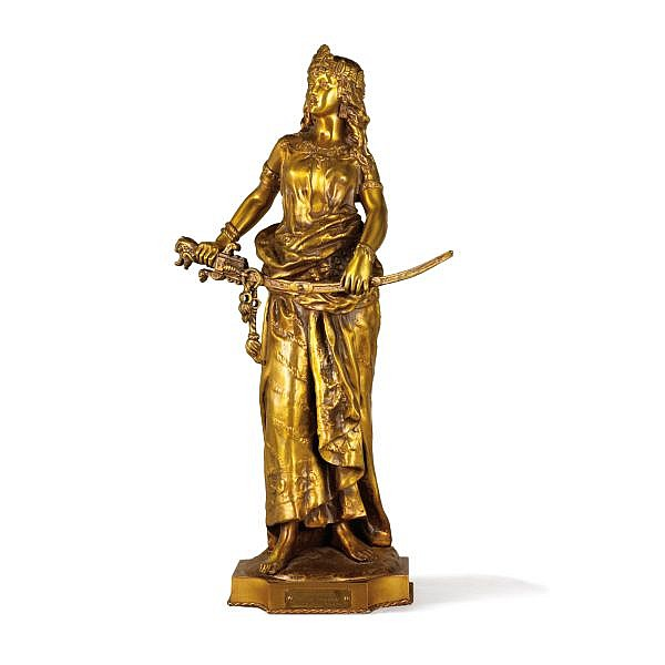 Charles-Octave Lévy, 1820-1899, Salomé , A French 19th century gilt bronze figure of Salome holding a sword by Charles-Octave Lévy (1820-1899), signed bronze doré