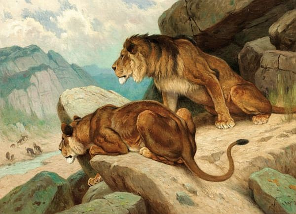 Georges-Frédéric Rötig , Le Havre 1873 - 1961 ? Lions à l'affût Georges-Frédéric Rötig ; lions stalking ; signed and dated lower right 25 ; oil on canvas Huile sur toile