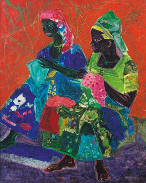 Roger Bezombes , Paris 1913 - 1994 ?   Deux africaines Roger Bezombes ; african women ; signed lower left and titled on the reverse ; oil on canvas Huile sur toile
