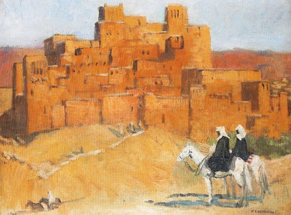 Fernand Lantoine , Maretz 1878 - 1956 Maretz Cavaliers du sud marocain devant une casbah Fernand Lantoine ; Moroccan horsemen near a casbah ; signed lower right ; oil on canvas   Huile sur toile