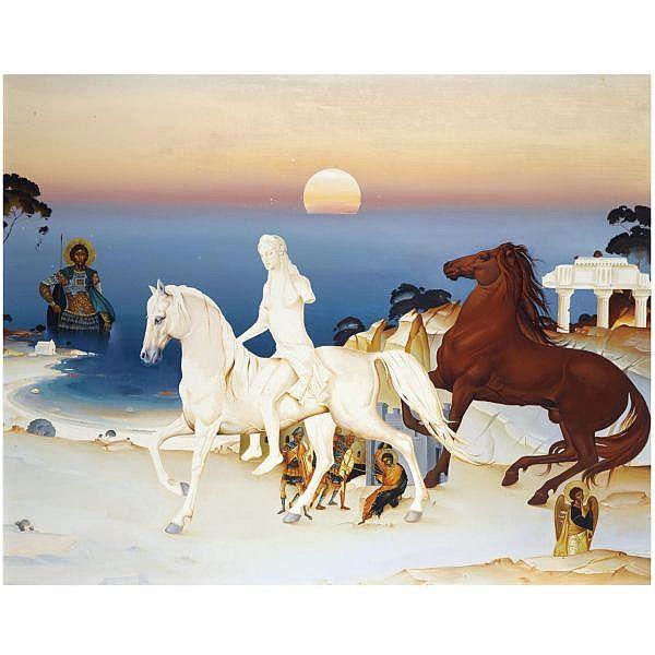 - Georgios Derpapas , Greek b. 1937 surrealist composition oil on panel