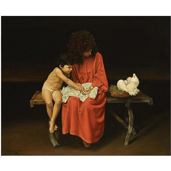 - Angelos (Panayotou) , Greek b. 1943 Mother and Child oil on canvas