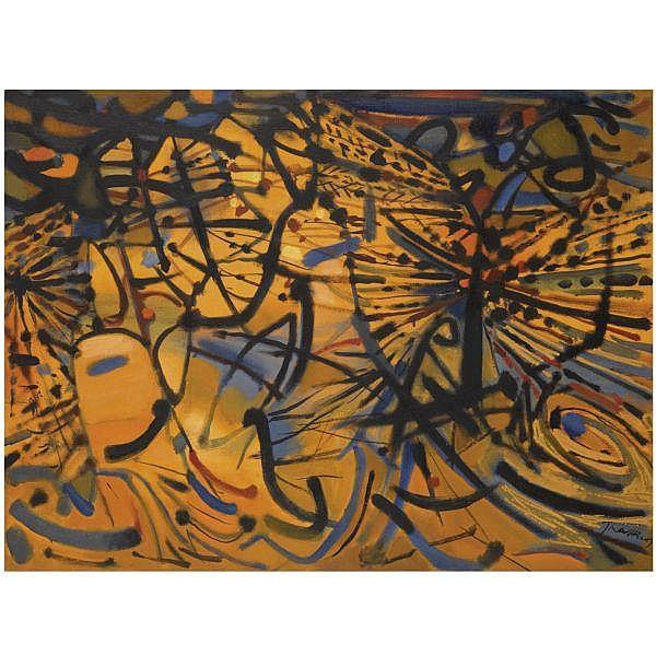 Mario Prassinos , Greek 1916-1985   le feu oil on canvas