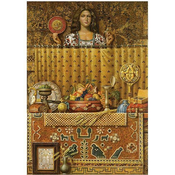 - Theodoros Manolidis , Greek b. 1940 Girl and Still Life oil and gold leaf on canvas