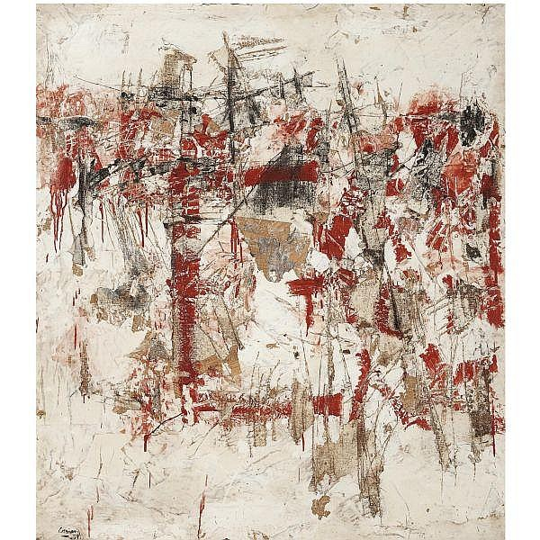 - Vlassis Caniaris , Greek b. 1928 Hommage aux murs d'Athènes oil and mixed media on canvas