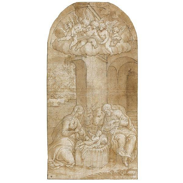 Bernardino Campi , Cremona 1522 - 1591 Reggio Emilia the nativity Pen and brown ink and wash over traces of black chalk, heightened with white, squared in red chalk, with several pentimenti on separate pieces of paper pasted to the main sheet; arched
