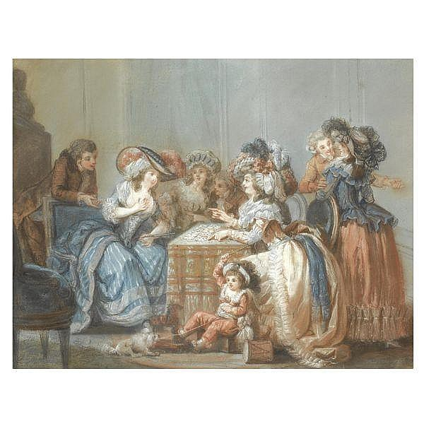 François-Louis-Joseph Watteau, called Watteau de Lille , Valenciennes 1758- 1823 Paris an elegant party around a table, watching a lady having her fortune told with cards   Red and black chalk and pastel