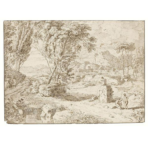- Johannes Glauber , Utrecht 1646 - 1726 Schoonhoven near Gouda italianate landscape with two figures resting by a ruined statue Pen and two shades of brown ink, within brown ink framing lines, incised for transfer; bears old numbering in brown ink,