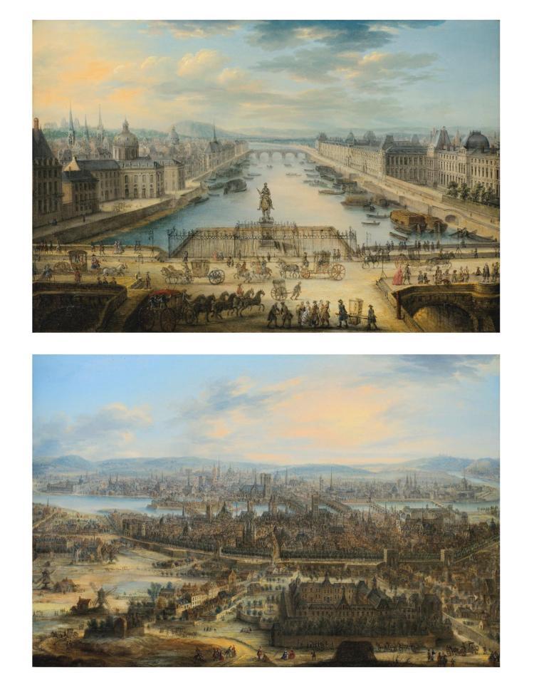 CHARLES-LÉOPOLD GREVENBROEK | La Seine vue du Pont Neuf<br />Vue de Paris avec l'Hôpital de Saint-Louis