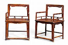 A PAIR OF 'HUALI' AND MIXED-WOOD LOW BACK ARMCHAIRS<BR>EARLY 20TH CENTURY |