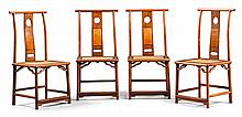 A SET OF FOUR 'HUALI' WOOD AND HUAMU SIDE CHAIRS<BR>20TH CENTURY |